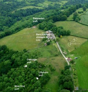 Aerial view of Cotswold Yurts secluded campsite