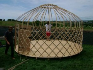 A newly made yurt frame