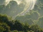 Misty valley scene